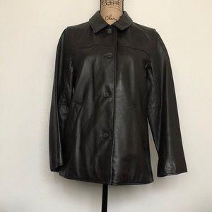 Eddie Bauer Women's Button Down Leather Jacket